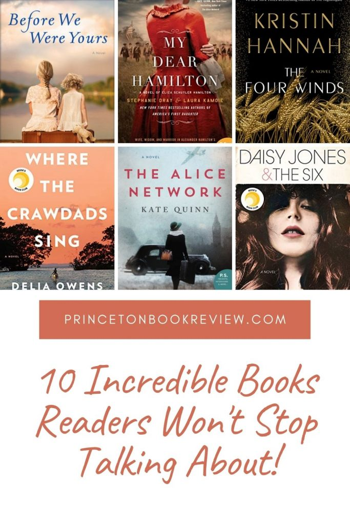 Pictures of book covers, before we we your, my dear Hamilton, the four winds, where the crawdads sing, the Alice network, daisy Jone and the six