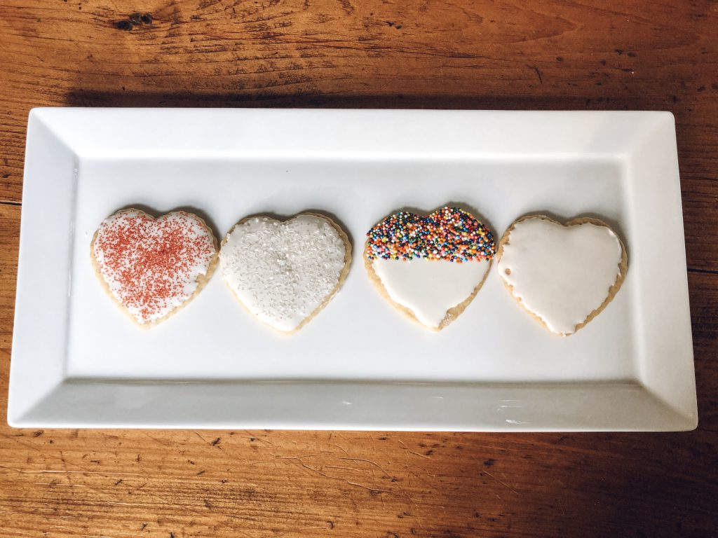 Heart Shaped Sugar Cookies on White Plate