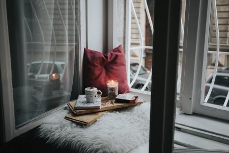 reading nook with tray and candle