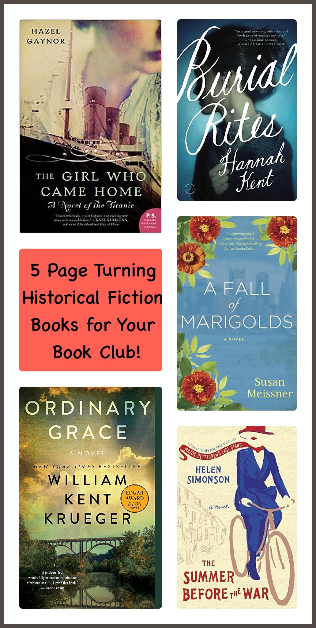 5 page turning historical fiction book club picks